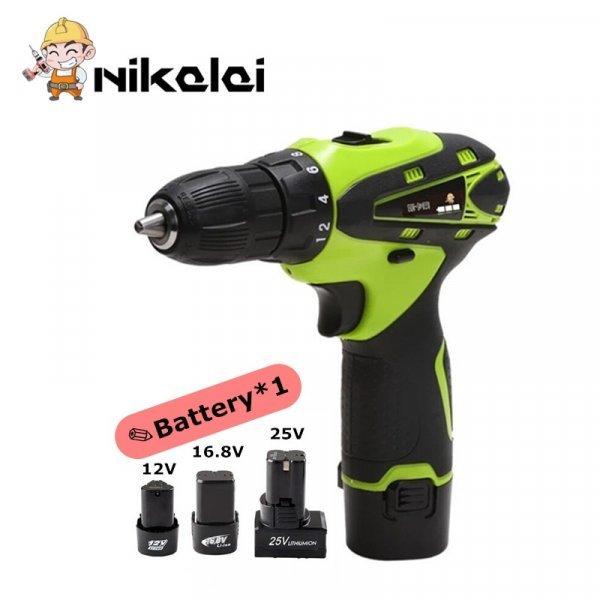 Шуруповерт с аккумуляторами и зарядкой Nikalai для дома (12 В, 16,8В)