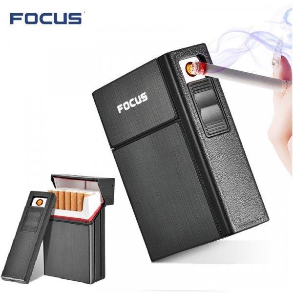 Портсигар с электронной зажигалкой от FOCUS (3 цвета)