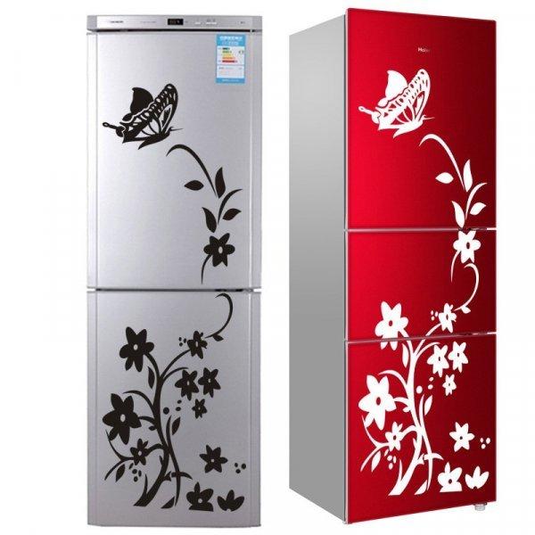Красивая наклейка на холодильник  Цветы (ПВХ, 13 см и 20*20 см)