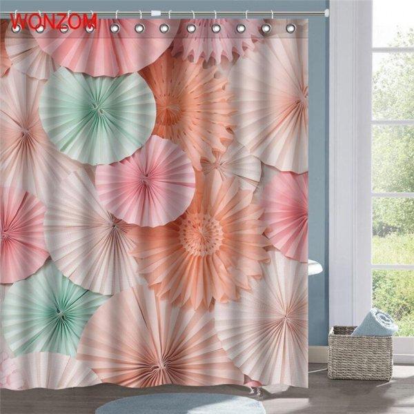 Штора для ванной с 3D рисунком WONZOM 3 цвета, 6 размеров)