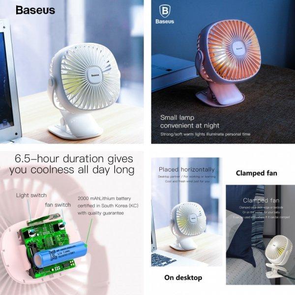 Перезаряжаемый вентилятор с подсветкой от BASEUS (3 цвета)
