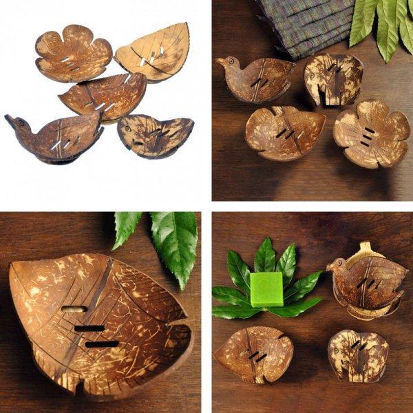 Мыльница ручной работы из скорлупы кокосового ореха (5 видов)