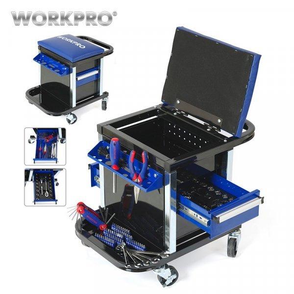 Ящик-стул на колесиках с набором инструментов от WORKPRO