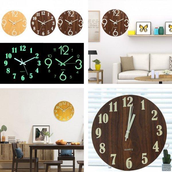 Деревянные часы со светящимися цифрами и стрелками (3 цвета)