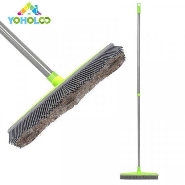 Щетка с телескопической ручкой и резиновой щетиной  (4 цвета)