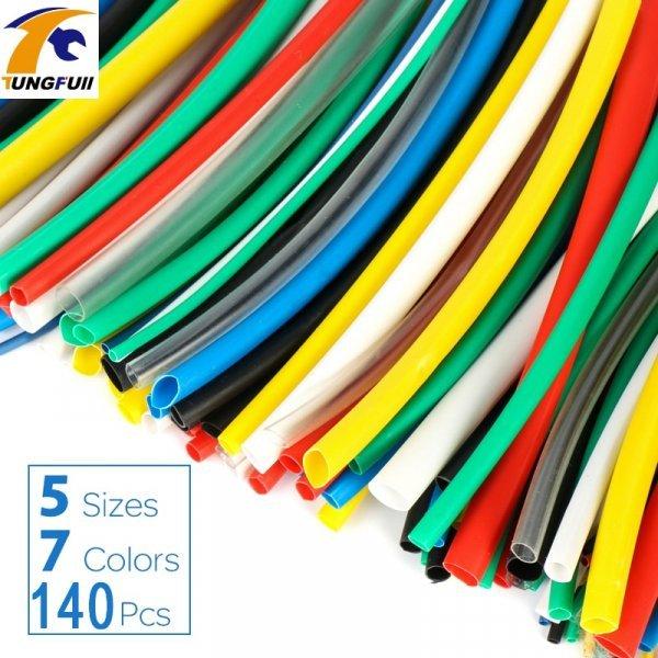 Термоусадочная изоляционная трубка (5 размеров, 7 цветов, 140 шт)