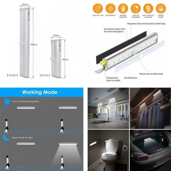 LED-светильник  для шкафа, лестницы, спальни, с датчиком движения