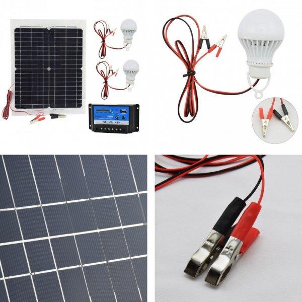 Набор: солнечная панель, зарядное устройство, светодиодные лампы Taotuo (20 Вт, 12В)