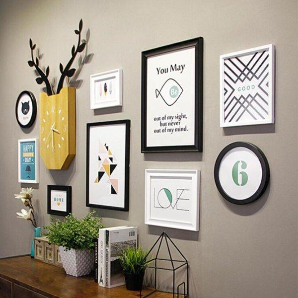Набор рамок с часами на стену (10 предметов, 3 цвета)