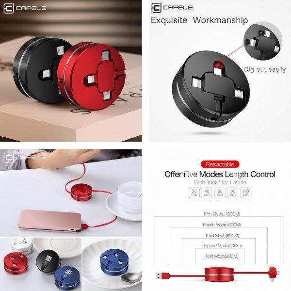 USB-кабель Сafele 3 в 1 (4 цвета)