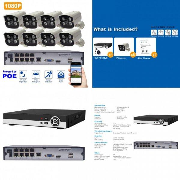 Мощная система видеонаблюдения с трансляцией на телефон DONPHIA (8CH 1080P PoE NVR)