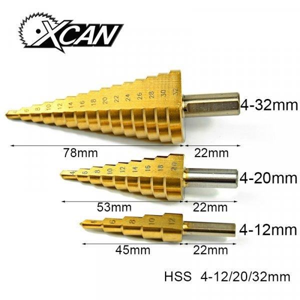 Ступенчатые конусные сверла от XCAN (3 шт)