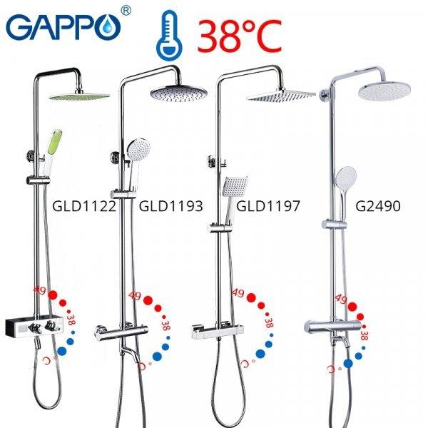 Смеситель для душа с термостатом от GAPPO (6 видов)