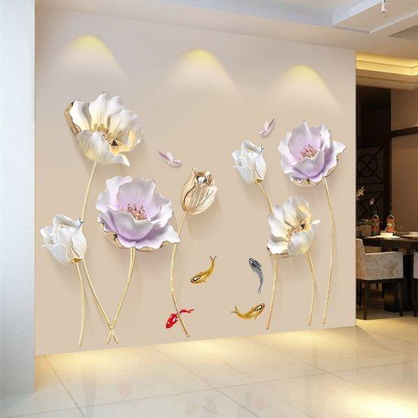Декоративные 3D наклейки на стену Цветы (60*90 см)