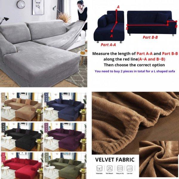 Бархатный чехол для дивана