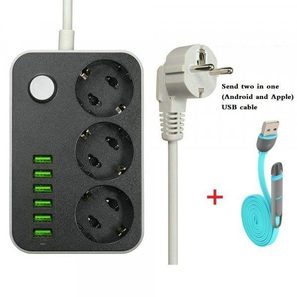 Мощный удлинитель LDNIO на 3 вилки и 6 USB-слотов