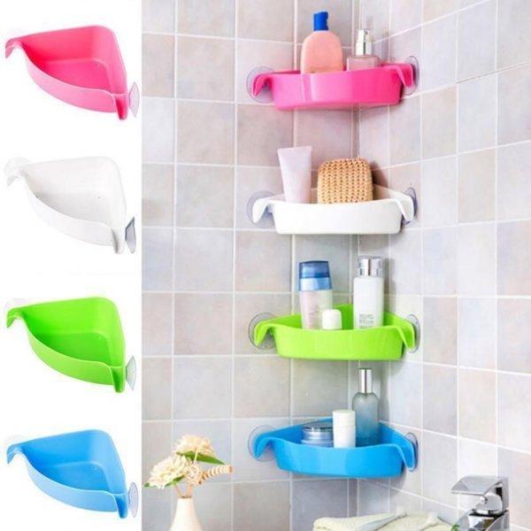 Угловая полка-кармашек для ванной LanLan (4 цвета)
