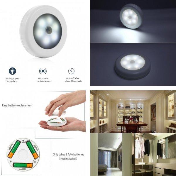 Круглый ночник, лампа для коридора с сенсорным датчиком
