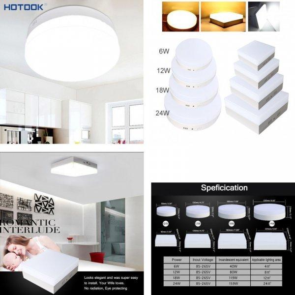 Стильный светильник HOTOOK для спальни, гостиной и офиса (6 Вт 12 Вт 18 Вт 24 Вт)