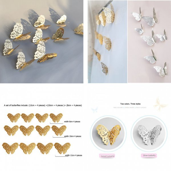 ХИТ! Декоративные 3D Бабочки (2 цвета, 12 шт)