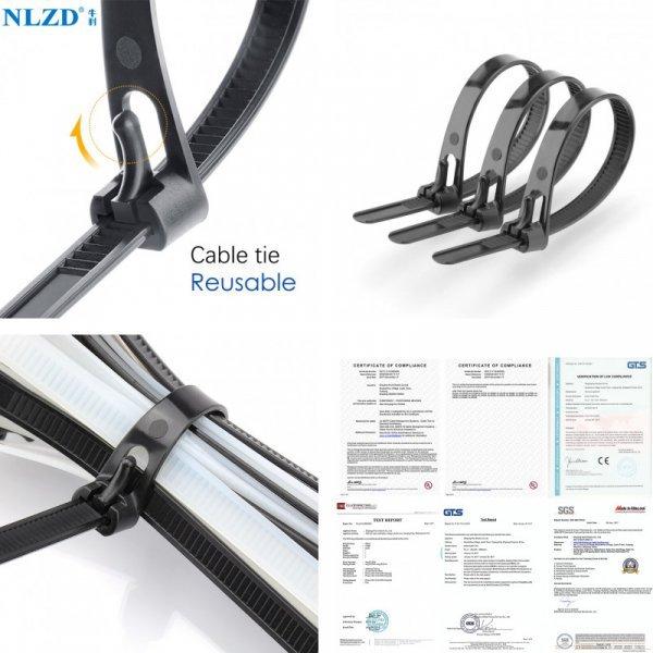 Многоразовые нейлоновые стяжки от NLZD (6 размеров, 100 шт)