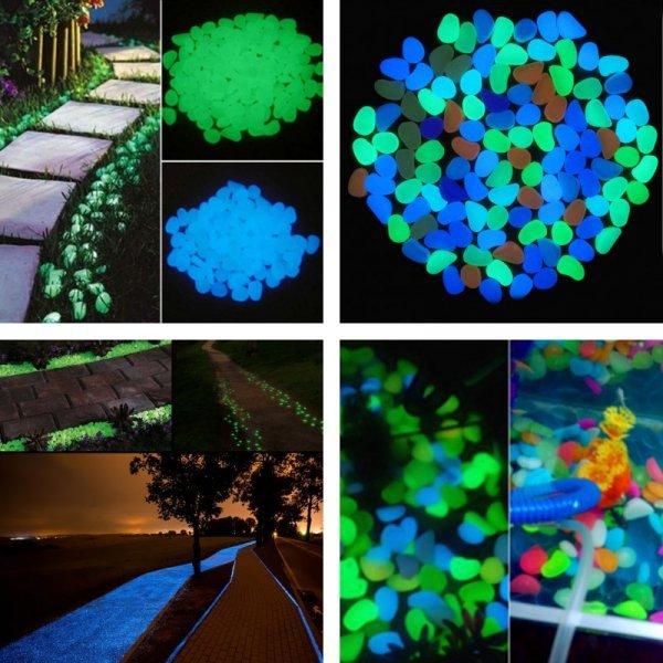 Светящиеся камни для украшения садовой дорожки