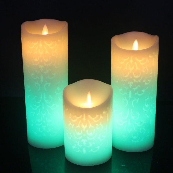 Свеча с градиентным свечением на пульте ду (4 размера)