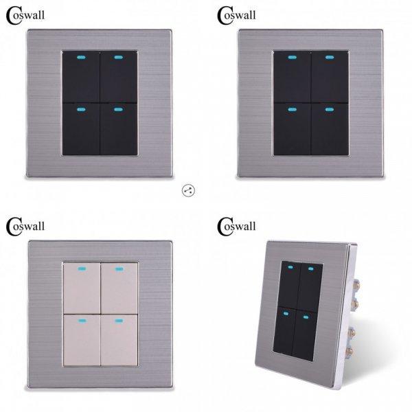 4-кнопочный выключатель Coswall с подсветкой (2 цвета, 2 года гарантия)