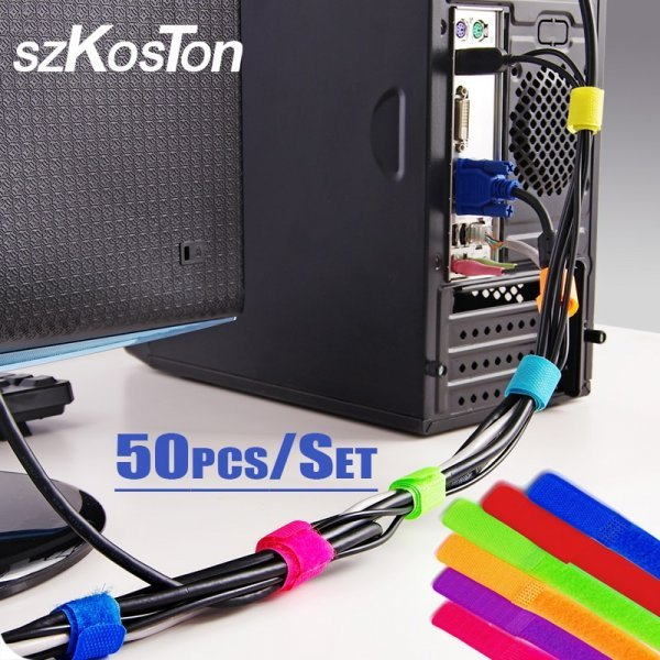 Лента для сматывания проводов SZKOSTON (50 шт, 7 цветов, 2*10 см)