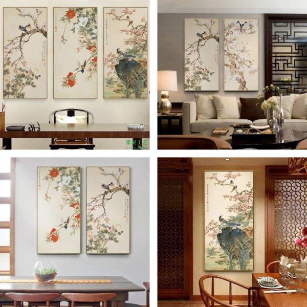 Картина с цветами и птицами