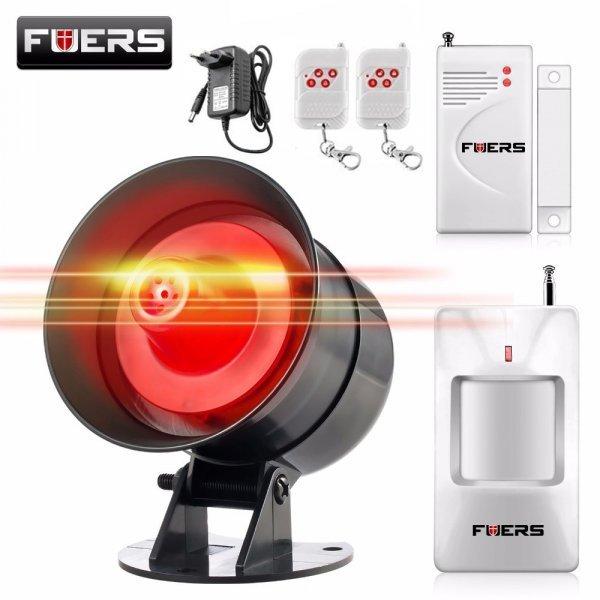 Сигнализация для дома Fuers  со звуком GSM 433 мГц (датчик на дверь+пульт, сирена и адаптер)