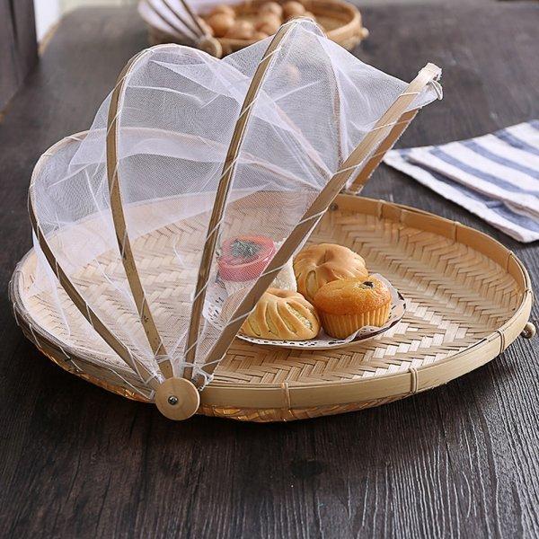 Бамбуковая корзинка с сеточкой для защиты от насекомых