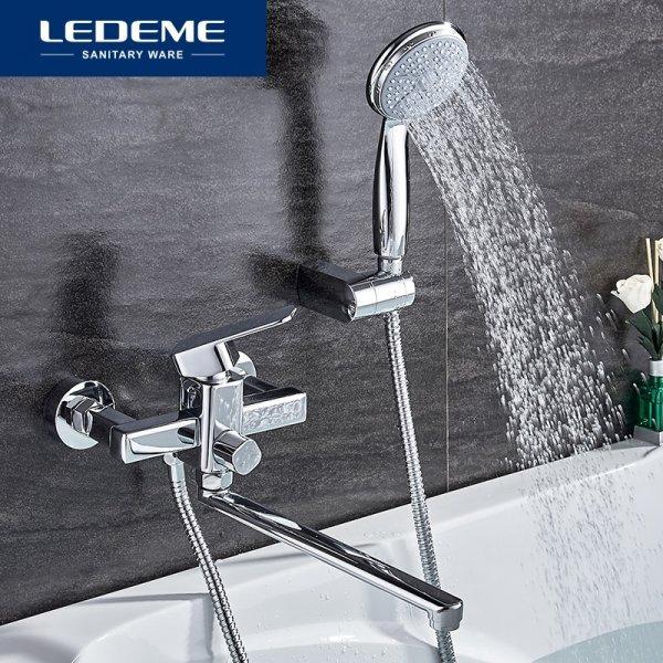 Смеситель для ванны с длинным изливом LEDEME (300 мм)