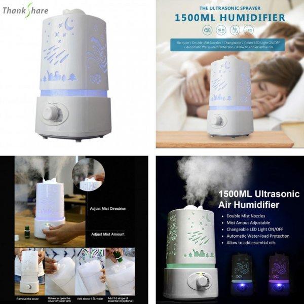 Ночник с функциями увлажнителя воздуха и аромалампы от THANKSHARE (1500 мл)