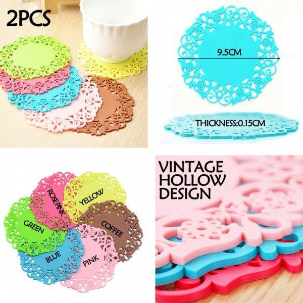 Силиконовые коврики для чашек от E-FASHION (2 шт, 6 цветов)