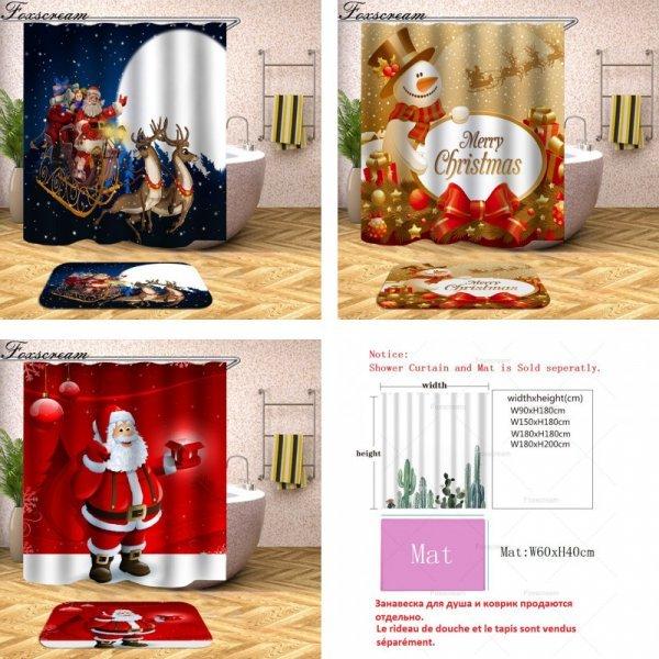 Красивая шторка для душа на Рождество (25 цветов, 5 размеров)