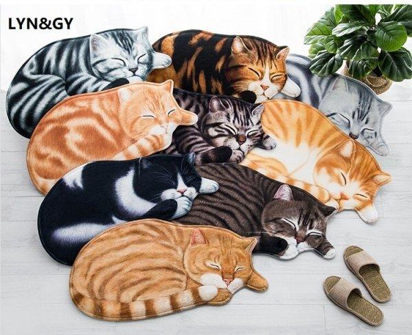 коврик Спящая кошка от LYN&GY (9 видов, 2 размера)