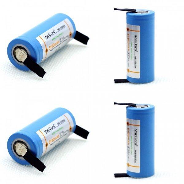 Мощные аккумуляторные батарейки для шуруповерта Varicore 26650 (3.7 В 5100 мАч)