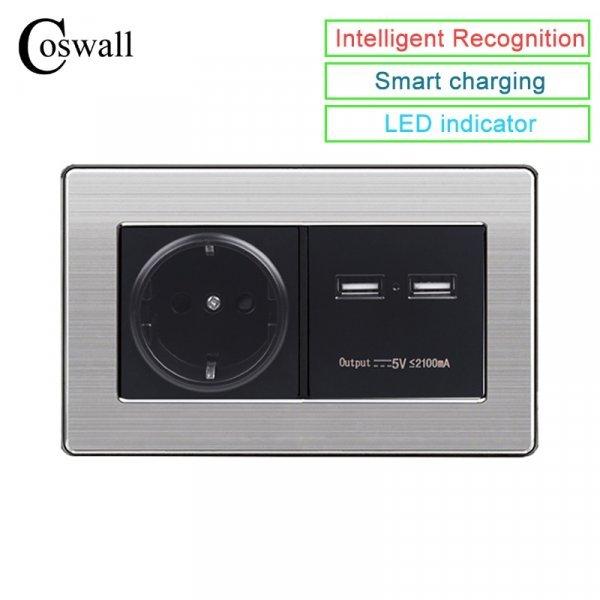 Розетка с USB портами от COSWALL (3 цвета)