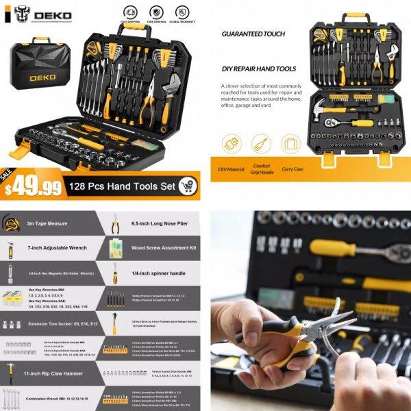 Набор ручного инструмента DEKO (128 шт) и все под рукой