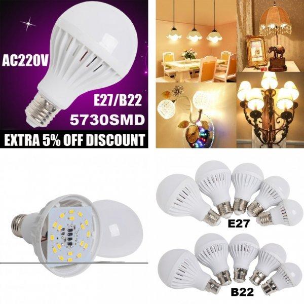 Светодиодная лампочка HugSunLight E27/B22  (3 свечения, 25 мощностей)