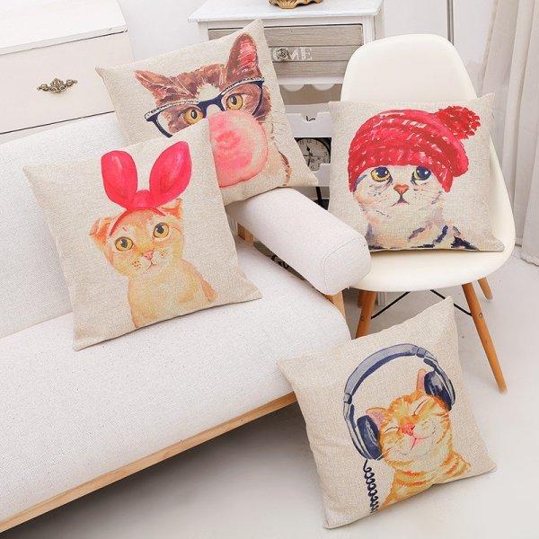 Забавный чехол для подушки в детской Homing  (4 рисунка, 45*45 см)