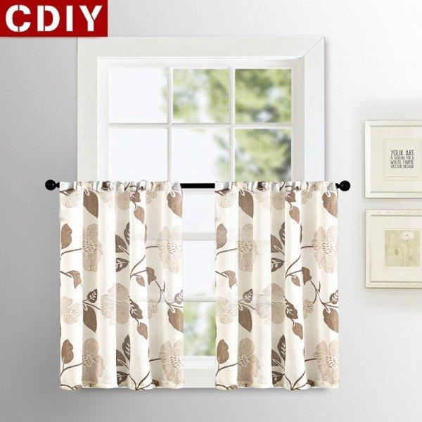 Корткие занавески на кухню с цветами CDIY (3 цвета, 9 размеров)