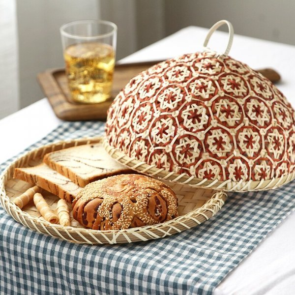 Плетеная бамбуковая хлебница от ANGELACOCO (3 цвета, 2 размера)