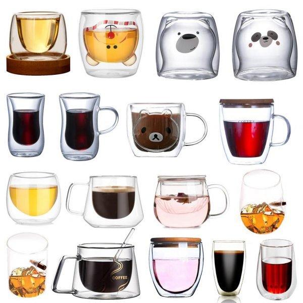 Чайные кружки с двойными стенками (в ассортименте)