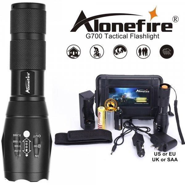 Мощный фонарик  на аккумуляторах Alonefire G700