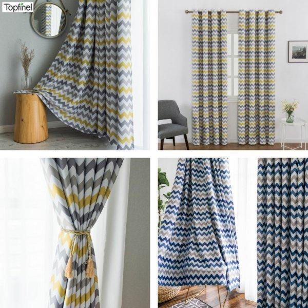 Яркие шторы с геометрическим рисунком Topfinel (блэкаут, 2 цвета, 9 размеров)