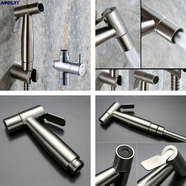 Шикарный гигиенический душ AODEYI (нерж. сталь, крепеж + шланг - 1500 мм,  120*75*20 мм)