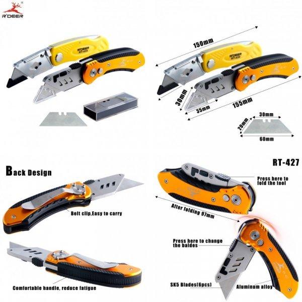 Нож строительный со сменным лезвием R'DEER