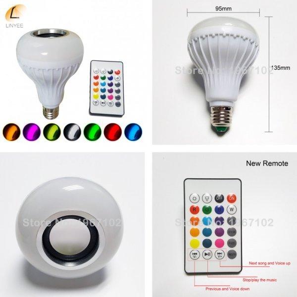 Светодиодная лампа с динамиком на пульте ду  LINYEE (E27, RGB)